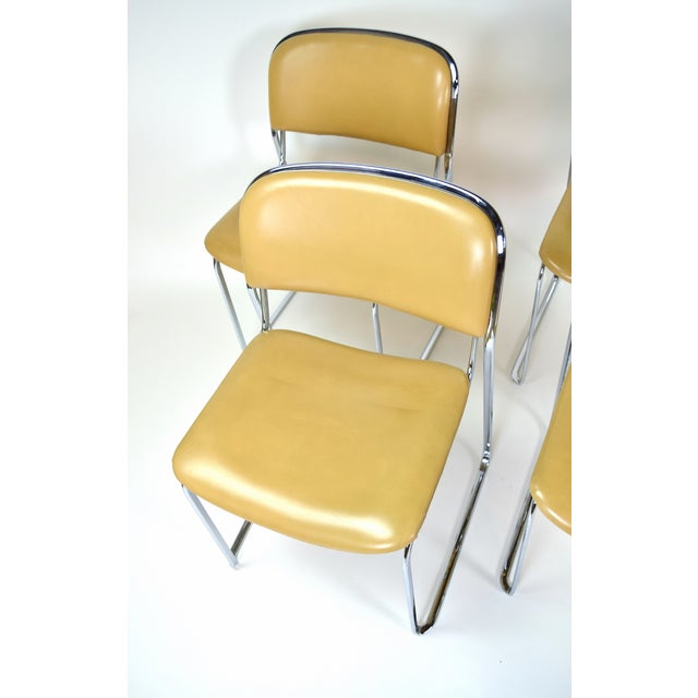 1980s 1980s Vintage Stacking Leather and Chrome Chairs by Thema- Set of 4 For Sale - Image 5 of 11