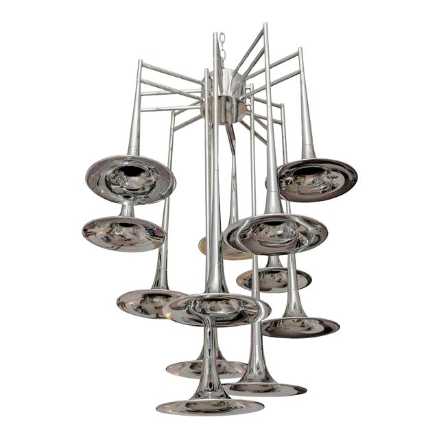 Vintage chrome Trumpet Chandelier by Reggiani, Italy For Sale