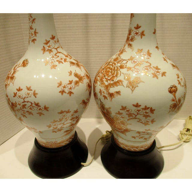 Wood Large 1950s Japanese Hand Painted Porcelain Vases Mounted as Lamps - a Pair For Sale - Image 7 of 11