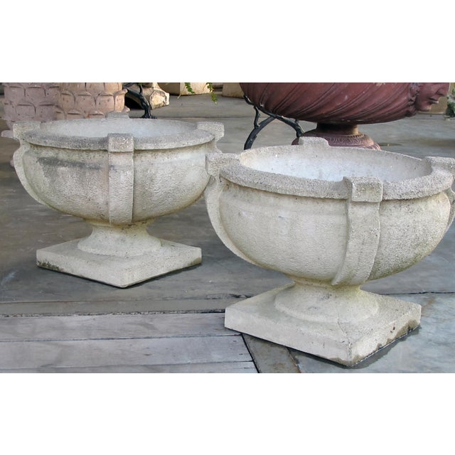 A Handsome Pair of American Cast Stone Garden Urns For Sale - Image 4 of 7