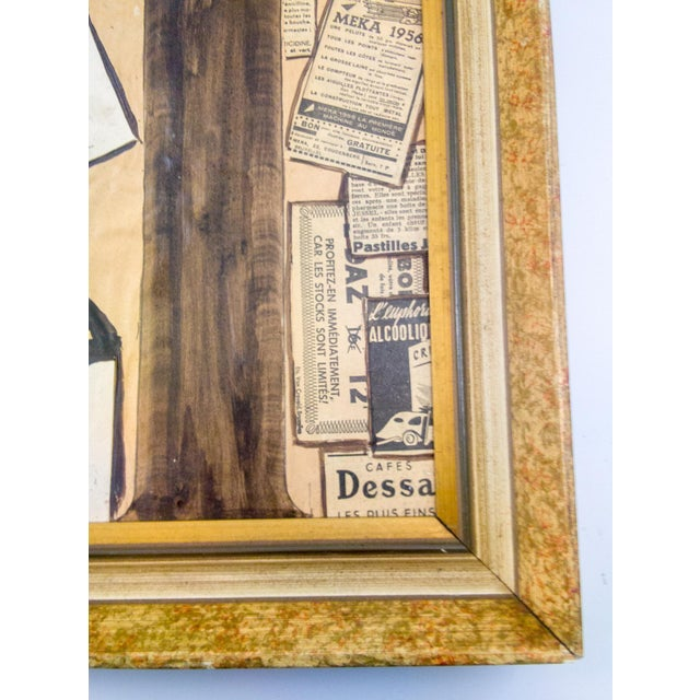 Excellent example of Mixed-media made famous by masters such as Picasso and Braque. The frame is vintage from Europe.