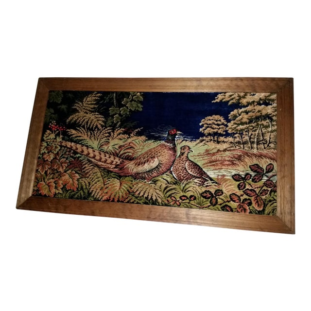Vintage Pheasant Framed Rug Wall Art For Sale