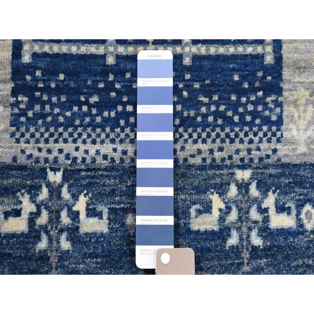 Shahbanu Rugs Denim Blue Kashkuli Gabbeh Pictorial Wool Hand Knotted Runner For Sale - Image 4 of 7