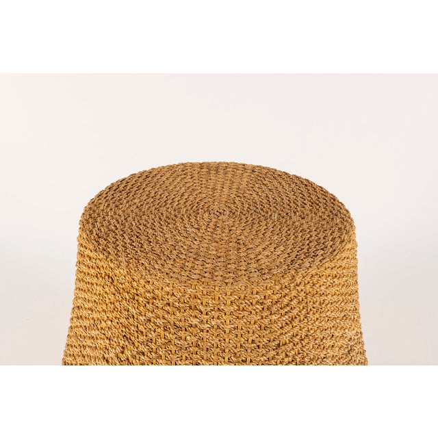 """A vintage woven rope table in an organic trompe l'oeil waterfall manner with new 22"""" diameter glass top."""