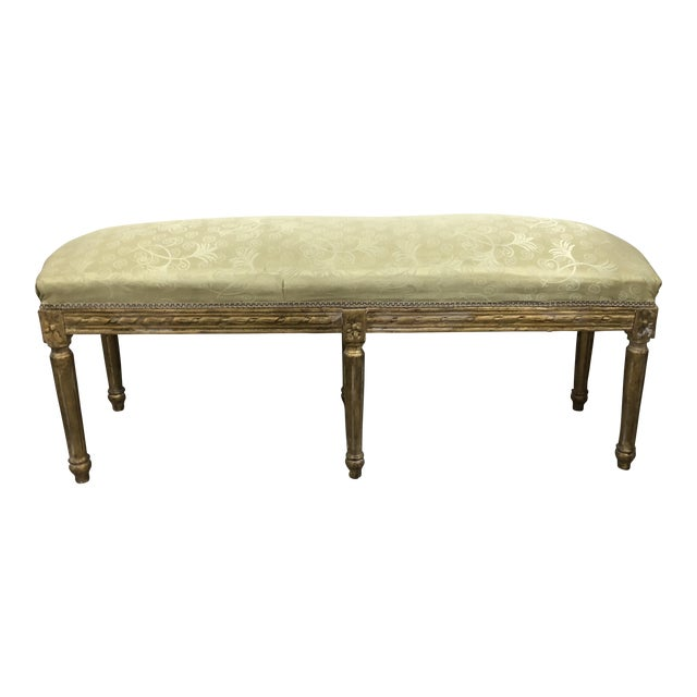 Vintage Giltwood French XVI Long Bench For Sale