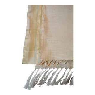 White Beige Tan Off White Ivory 100% Silk Fabric Hand Spun Woven Handloom 1 Yard X 46 Inch For Sale