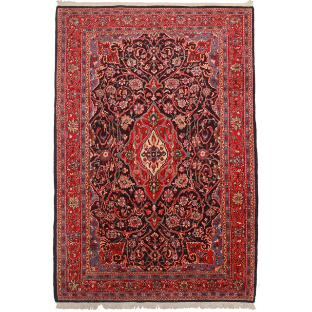 Hand Knotted Persian Sarouk Rug - 7′6″ × 11′ For Sale