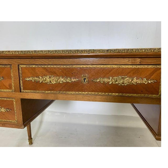 Mid 20th Century French Style Mahogany and Satinwood Writing Desk With Ormolu For Sale - Image 5 of 13