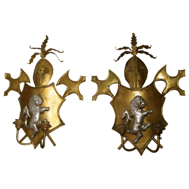 Antique Italian Shield Sconces - A Pair - Image 1 of 8