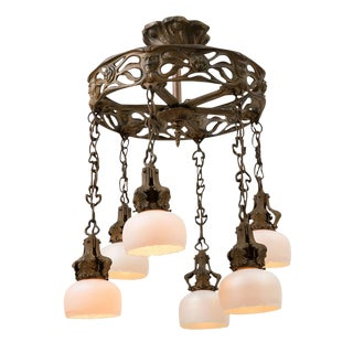 Cast Iron Figural Art Nouveau Chandelier W/ Art Glass Shades Circa 1900