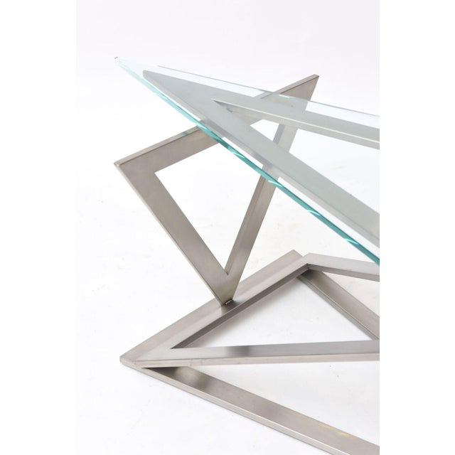 Italian Modern Stainless Steel and Glass Table Attributed to Giovanni Offredi For Sale In Miami - Image 6 of 10