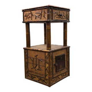 French Marble Top Bamboo and Raffia Cabinet Signed by Parret & Vibert For Sale