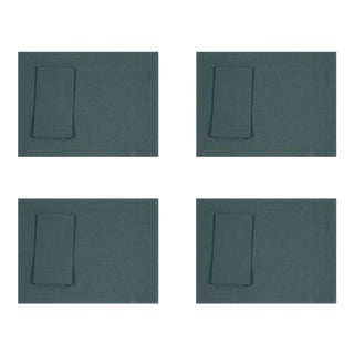 Petrol Green Linen Placemats and Dinner Napkins - 8 Pieces For Sale