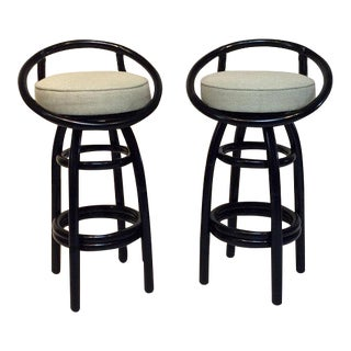 Beverly Hills Rattan Black Lacquered Bar Stools - A Pair For Sale