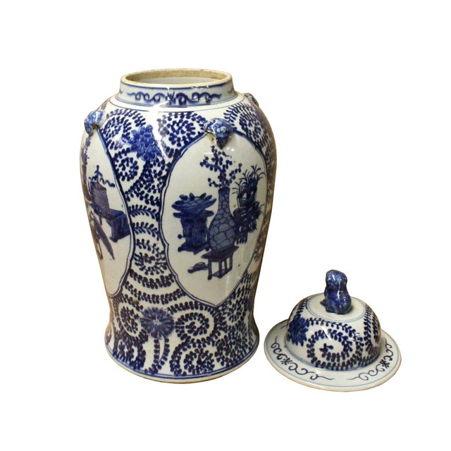 Chinese Blue & White Flowers Theme Porcelain Large General Jar - Image 4 of 7