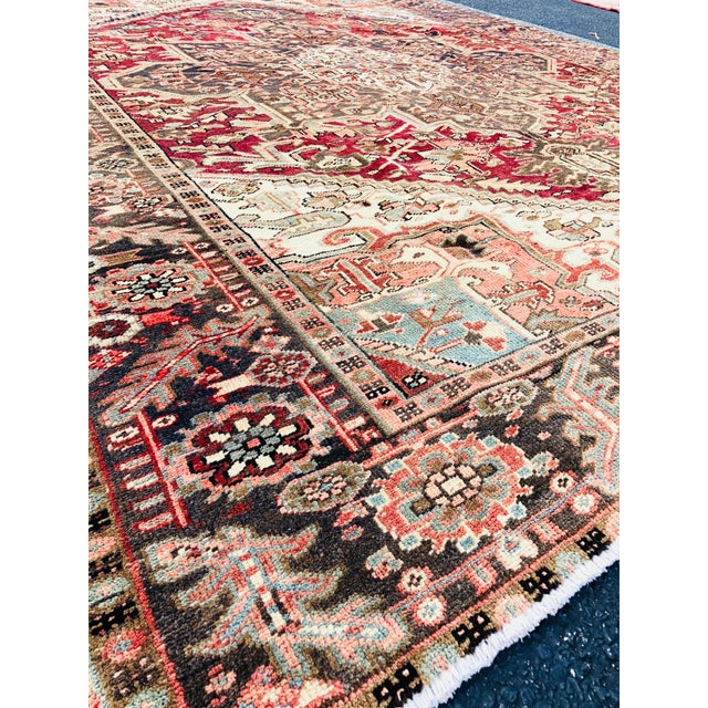 """1930's Vintage Persian Heriz Large Area Rug 9'2""""x10'7"""" For Sale - Image 4 of 13"""