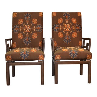 Michael Taylor for Baker Greek Key Armchairs Far East Collection - a Pair For Sale
