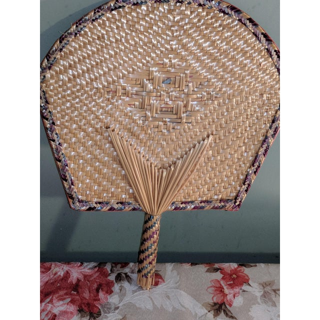 Asian Vintage Thai Woven Straw Bamboo Hand Fans - a Pair For Sale - Image 3 of 9