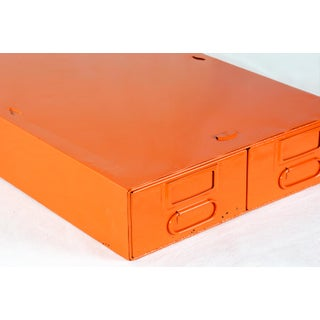 1940s Card Catalog File Drawers, Refinished in Gloss Tangerine Preview