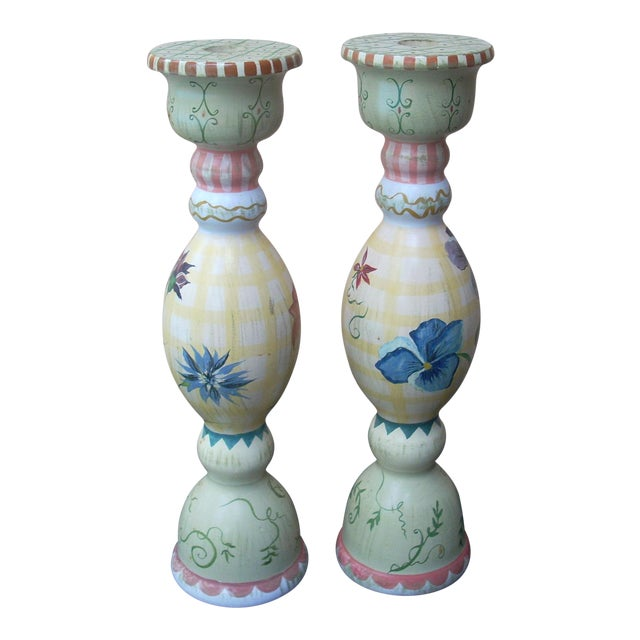 Stonehouse Farm Goods Hand Painted Candlesticks - a Pair For Sale