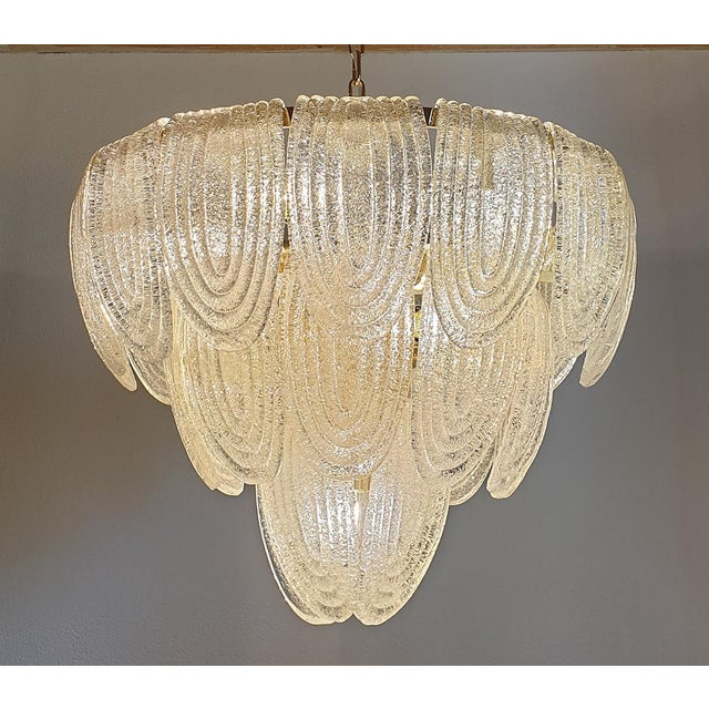 Large Mid Century Modern Clear Murano Glass Chandelier, Mazzega Style, Italy 1970s For Sale - Image 9 of 11