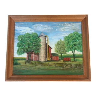 Vintage Farmstead Scape Painting For Sale