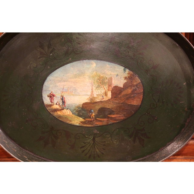French 19th Century French Napoleon III Hand-Painted Tole Tray With Coastline and Cliff For Sale - Image 3 of 9