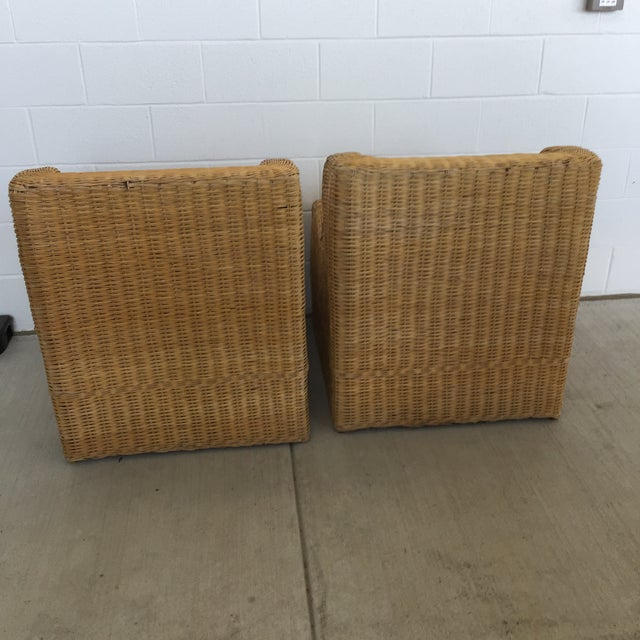 1970s Boho Chic Rattan Club Chairs - a Pair For Sale - Image 4 of 11