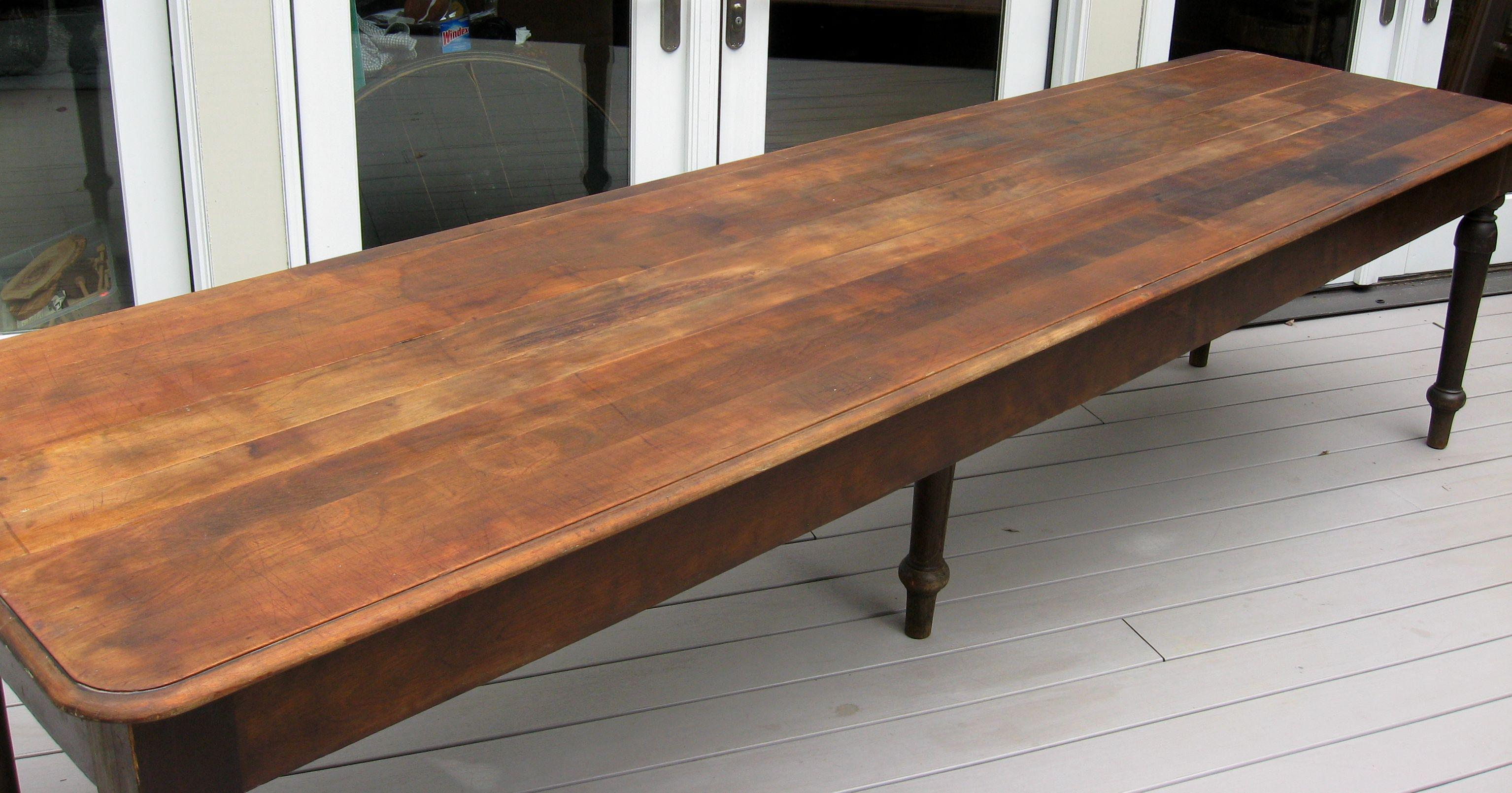 Country Antique 1800s Primitive Mahogany Farm Table For Sale   Image 3 Of 8