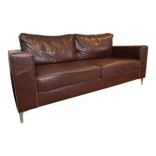 Modern Leather Sofa With Suede Piping For Sale