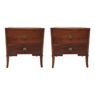 Regina Andrew Modern Mahogany Finished Wood Nightstands Pair For Sale