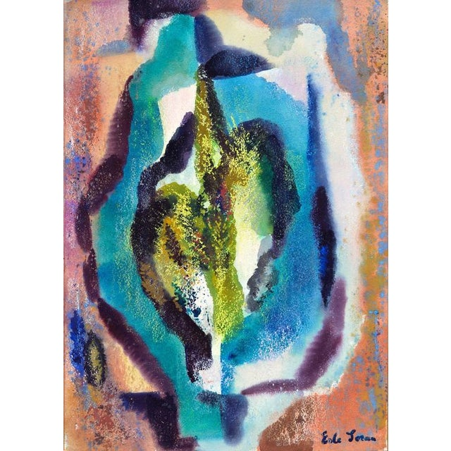 Erle Loran Cyan Abstract Painting by Erle Loran, 1951 For Sale - Image 4 of 4