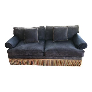 1990s Vintage Traditional Ultra Suede Sofa For Sale