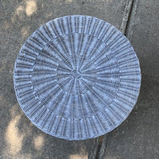 Trompe l'Oeil Round Top Draped Grey Rattan Side Table Preview