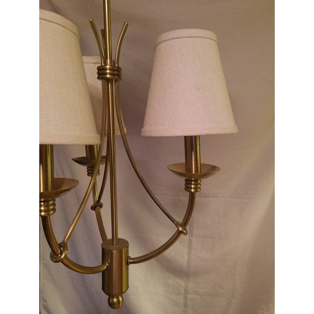Mid-Century Modern Mid Century Modern 3 Arm Brushed Brass Chandelier Pendant Light Fixture For Sale - Image 3 of 7