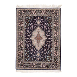 Persian Isfahan Hand-Knotted Rug - 3′7″ × 4′11″ For Sale
