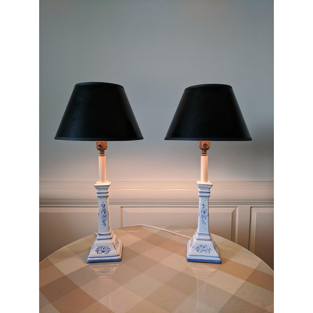 Blue A Pair- Portugal Ceramic Blue and White Buffet Table Lamps For Sale - Image 8 of 13