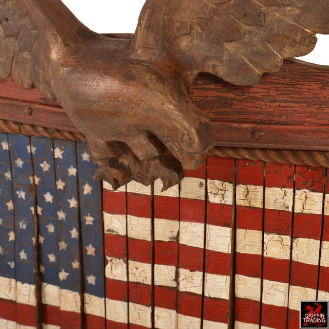 Cast Iron FOREVER SHE WAVES #2 Mechanical American Flag with Eagle For Sale - Image 7 of 10
