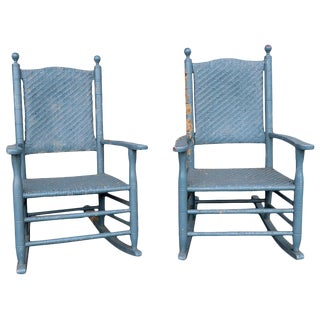 Two Rustic Porch Rockers in Peely Paint Finish For Sale