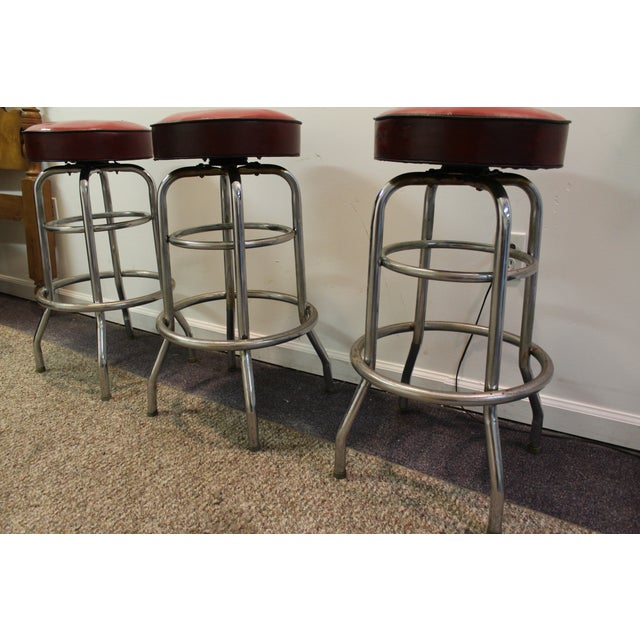 Mid Century Modern Swivel Bar Stools -- Set of 3 - Image 10 of 11
