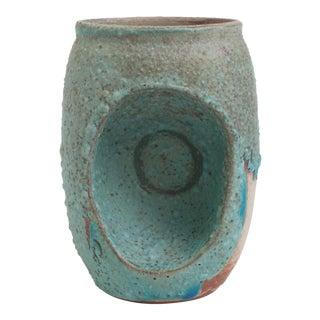 Indented Blue Ceramic Vase