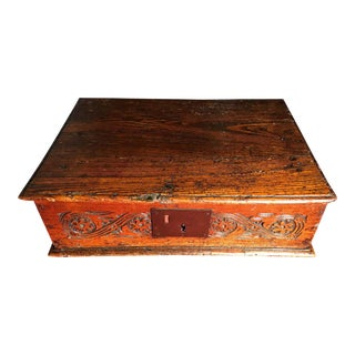 17th Century Jacobean Charles II Oak Bible Box For Sale