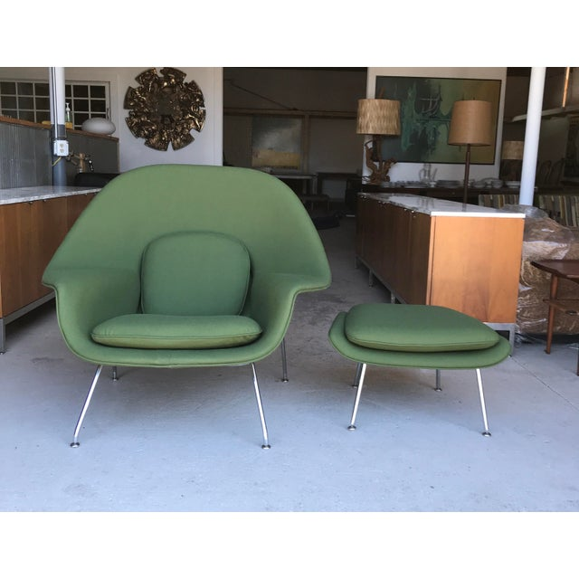 Textile Reupholstered! Knoll Womb Chair Ottoman Eero Saarinen For Sale - Image 7 of 13