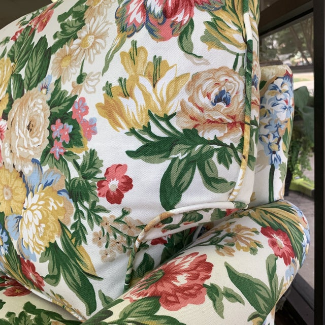 Floral Club Chair - New Upholstery (Vintage Fabric) For Sale - Image 12 of 13