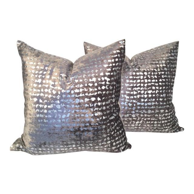 Silver Metallic Embossed Velvet Pillows - A Pair - Image 1 of 4