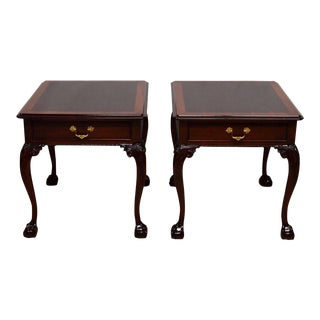 Stickley Mahogany Chippendale Banded Nightstands - A Pair