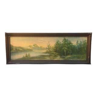 1920s Mountain & River Lithograph For Sale
