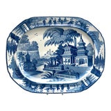 Image of Circa 1820 Large Blue and White Platter in the Chinese Style, England For Sale