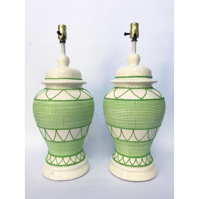Green & White Hollywood Regency Table Lamps - A Pair - Image 2 of 5