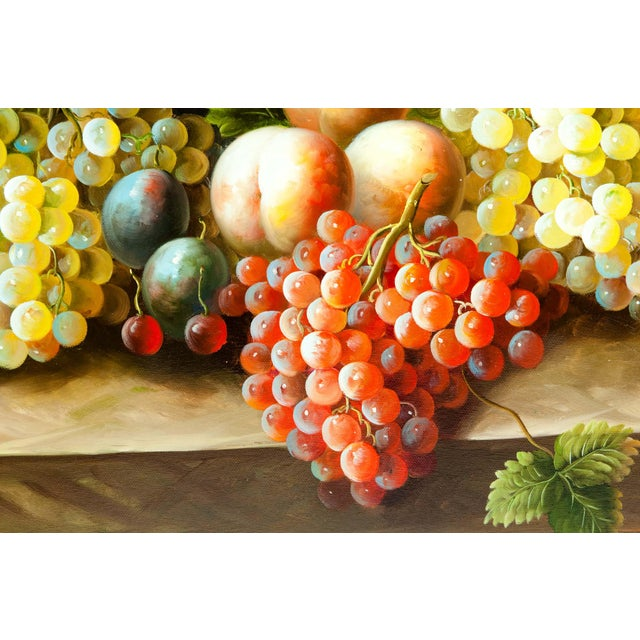 Hollywood Regency Fruit Still Life Giltwood Framed Oil / Canvas Painting For Sale - Image 3 of 11